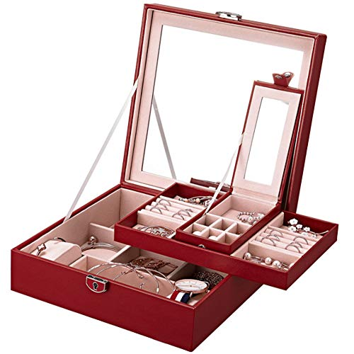 AJH Jewellery Box with Mini Travel Case & Mirror, Jewelry Organiser and Storage Case Trays for Rings, Earring, Necklaces,Best Gift for Women,B