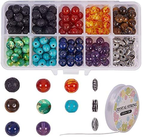 SUNNYCLUE 200pcs 8mm Natural 7 Chakra Lava Stone Beads Round Loose Beads Kit Spacer Beads with product image