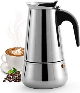 Womdee Stovetop Espresso Maker, Moka Pot, Coffee Maker: Classic Cafe Maker Made of 430 Stainless Steel for 6 Cups (300 m...