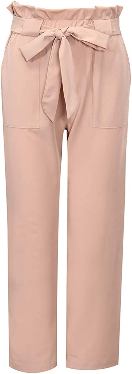 Xintianji Women Frilled Waist Cropped Paper Bag Pants Workwear Office Skinny Slim Trouser with Pockets