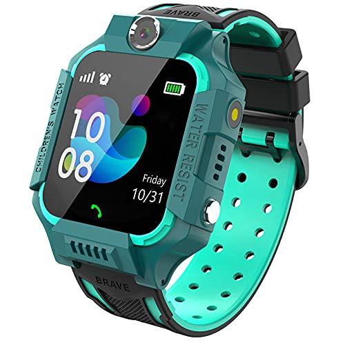 PTHTECHUS Kinder Spiel Smartwatch Telefon, Kind Armbanduhr Touchscreen Uhr mit Anruf Taschenrechner Taschenlampe Schrittzähler SOS Wecker Kamera, Geschenk für Jungen Mädchen Studenten (Blau)