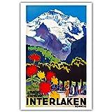 Weiteng Póster de Viaje Vintage de Las películas de Furka Golf Ascona Zinal de Suiza Sala de Estar y Estudio Decoración de apartamento 40x50cm Q-1007