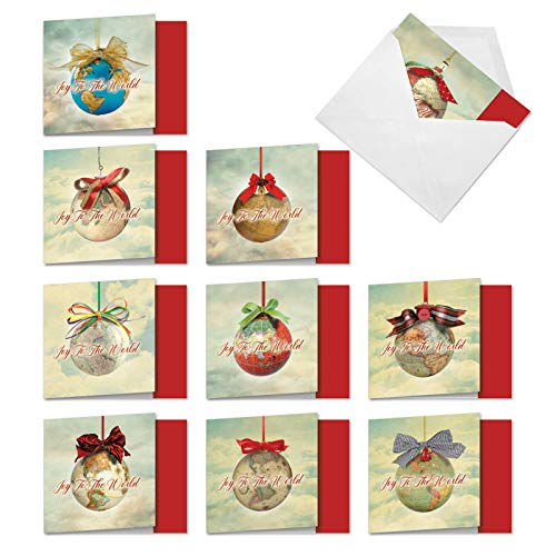 The Best Card Company - 10 Thank You Cards for Christmas - Assorted Holiday Gratitude Notecards, Bulk Thank Yous (4 x 5.12 Inch) - Joy to the Globe MQ5023XTG-B1x10