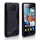 Yousave Accessories Qualität Schwarz Silikon Gel Schutzhülle Kompatibel Für Samsung Galaxy S2 I9100 Tasche Mit Bildschirmschutz