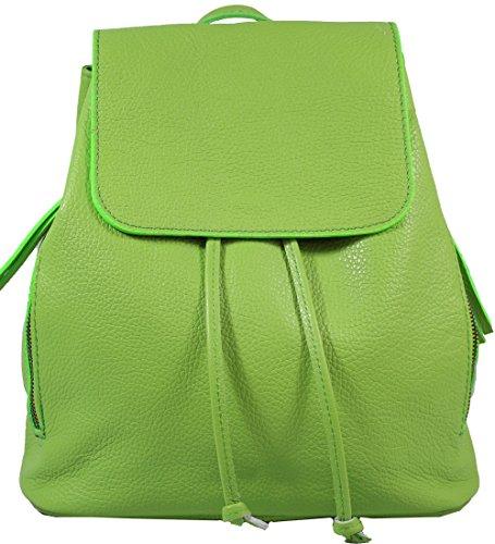Ital. Echtleder Damen Rucksack Leichter Tagesrucksack Daypack Lederrucksack Damenrucksack versch. Farben erhältlich R01 (Smaragdgrün)