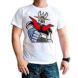 Camiseta Serie Manga y Anime Hombre - Unisex Mazinger Z (Blanco, XXL)