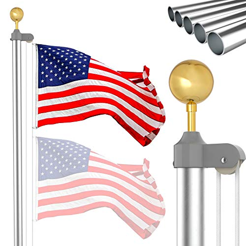 IIOPE 25 FT Flag Pole Kit, Heavy Duty Aluminum Outdoor In Ground Flagpole with 3x5 American Flag for Residential, Yard or Commercial, Silver
