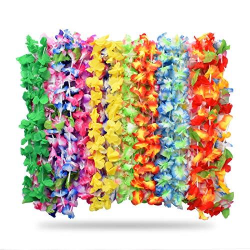 Alcoon Hawaii Blumen Halskette, 36 Stücke Tropische Hawaiian Luau Blume Lei Garland Hawaiian Halskette Set für Luau Sommer Beach Party Dekorationen Gefälligkeiten