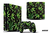 247 Skins Graphics kit Sticker Decal Compatible with PS4 PlayStation 4 SLIM and Dualshock Controllers - Weed Black