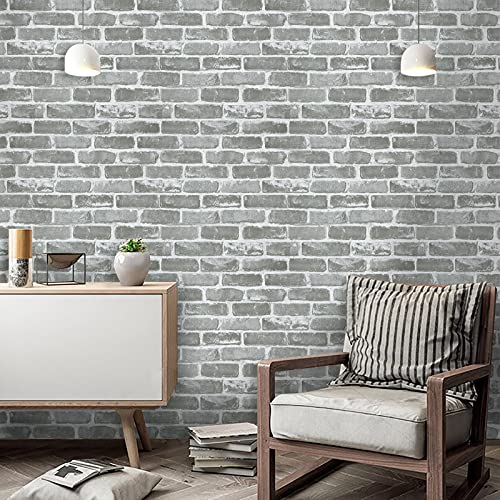Timeet Vintage Gray Brick Peel and Stick Wallpaper Self Adhesive Brick Wall Paper Film 3D Faux Textured Stone Wallpaper Removable Wallpaper for Bedroom Living Room Home Decor Vinyl Roll