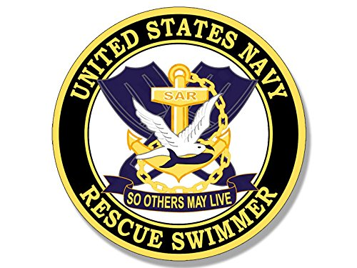 American Vinyl Round Navy Rescue Swimmer So Others May Live Sticker (Naval air Logo)