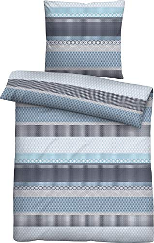 biberna 0324404 Winter-Soft-Seersucker Bettwäsche Garnitur mit Kopfkissenbezug (Baumwolle) 1x 135x200 cm + 1x 80x80 cm, eisblau