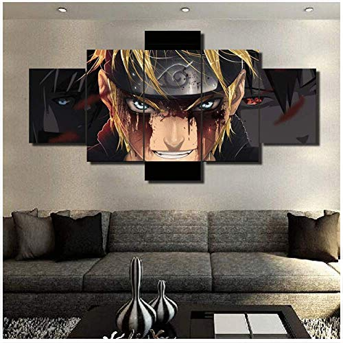 LFLYBCX Modern Bild Wandbilder Kunstdrucke 5 Teilig, Anime Naruto Evil's Lachen Poster HD Print Plakat Vlies Leinwandbild Wohnung Wohnzimmer Galerie Kunst,A-40×60×240×80x240×100×1