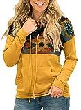AlvaQ Womens Aztec Print Colorblock Cowl Neck Sweatshirt Drawstring Pullover Tops with Pocket Yellowe Large