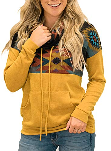 AlvaQ Women Casual Aztec Print Colorblock Cowl Neck Long Sleeve Drawstring Pullover Sweatshirts Hoodie with Pockets Plus Size Yellow 2X