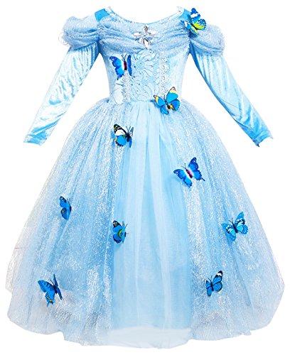 Le SSara Langarm Mädchen Prinzessin Cosplay Kostüme Fancy Schmetterling Kleid (130, L-blue)