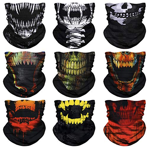 NTBOKW Skull Neck Gaiter Face Mask for Sun Dust Wind Protection Mask for Riding Motorcycle Cycling Fishing Hunting Breathable Thin Seamless Bandana Tube Mask for Men Women (9 Pack Skull 01)