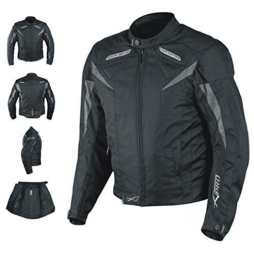Motorradjacke CE Protektoren Sport Textil Motorrad Thermofutter Schwarz XXL