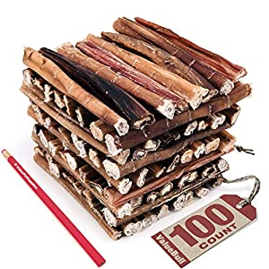 ValueBull Bully Sticks for Dogs, Medium 6 Inch, 100 Count – All Natural Dog Treats, 100% Beef Pizzles, Single Ingredient Rawhide Alternative