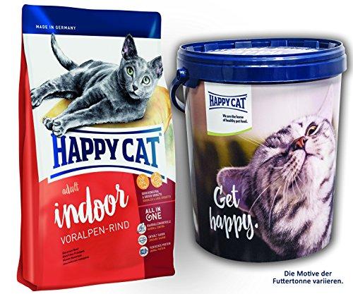 Happy Cat INDOOR Voralpen Rind 2 x 10 kg = 20 kg + 1 x Futtertonne Happy Cat 20 Liter
