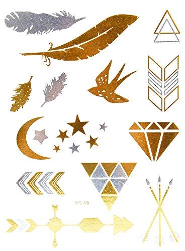Oh My Shop - TYS59b - Planche Tattoo Tatouage Ephémère Temporaire Métallique Body Art Symboles Ethnique - Argent/Or