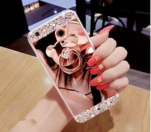 Ukayfe Custodia Cover Samsung Galaxy S5, Custodia per Samsung Galaxy S5 UltraSlim Specchio Copertura Cover Case Protettiva con Morbido TPU Placcatura Design Skin Custodia-Oro Rosa con Ring Holder