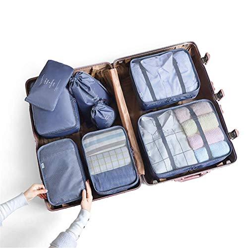 8 PCS Cubos de Embalaje para Maleta Impermeable Viaje Organizadores de Embalaje Esenciales Conjunto de Tela Organizador de Equipaje de Viaje Ropa Zapatos Cosméticos Artículos de Aseo Bolsas