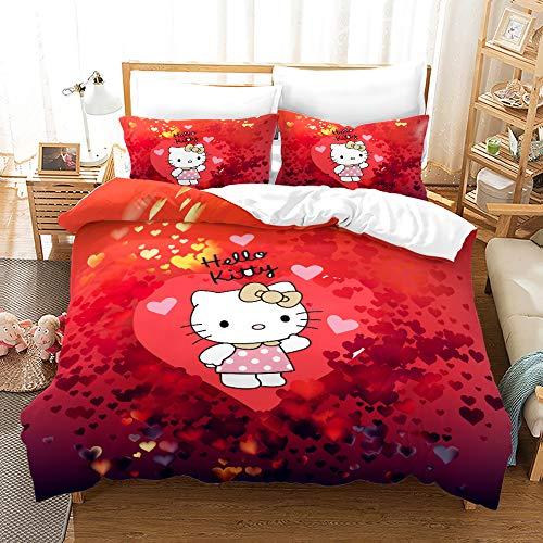 NICHIYOBI Hello Kitty - Juego de ropa de cama (funda nórdica y funda de almohada, microfibra, impresión digital 3D, 3 piezas, 7,140 x 210 cm), diseño de Hello Kitty