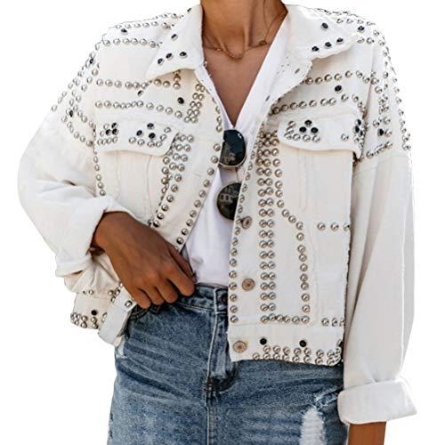 Onsoyours Giacca in Jeans Donna Giubbotto di Jeans Abbottonato Corto Giubbotto Denim Casual con Rivetto Denim Jacket Autunno Inverno Bianco L