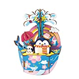 Rolife Dream Hand Crank Music Box with Inner Machine-3D Wooden Puzzle DIY Assemble Toys-Creative Gift for Christmas/Birthday/Valentine's Day for Kids Children Girl Friends (Penguins on Whales)