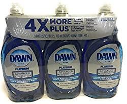 commercial Dawn Dish Soap, Ultra Platinum Advanced Power 4x or More (24 fl oz x 3) list of antibacterial soaps