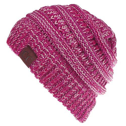 Yixda Unisex Wintermütze Messy High Bun Pferdeschwanz Slouch Beanie Mütze (Mix Hot Pink)