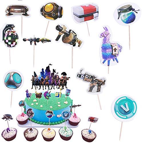 BESLIME 48pcs Cake Topper, Spiel Thema Cupcake Toppers, Kuchendekoration für Videospiele, Happy Birthday Kuchen Dekoration Spiel Partei Liefert