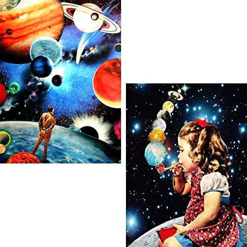 Ginfonr 5D Diamond Painting Diamante Pintura Planeta Cielo Estrellado Universo Hombre Niña Por Kits Numéricos Pintura De Taladro Completo Con Decoración De Pared De Diamantes Art 30 * 40 cm, 2Pack