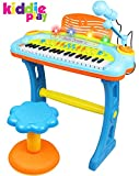 Kiddie Play Electronic 37-Key Toy Piano Keyboard for Kids with Real Working Microphone, Colorful Lights and Stool