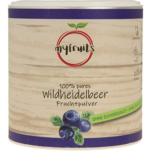 myfruits® Wildheidelbeerpulver - ohne Zusätze, zu 100% aus Heidelbeeren, Fruchtpulver für Smoothie, Shakes & Joghurt. (200g)