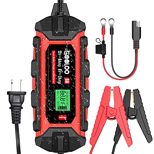GOOLOO S6 6 Amp Smart Battery Charger Automotive, 6V 12 Volt Water-Resistant Trickle Charger and Maintainer, Automatic Intelligent Chargers for Motorcycle Car Truck Lawn Mower ATV AGM GEL SLA Battery