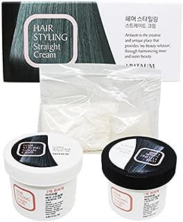 Korea Cosmetic ARITAUM Hair Relaxer(DIY KIT) Straight Cream for curly Hair: (100ml each) Self permanent Straight Cream, Straightening For Frizzy Hair: At Home
