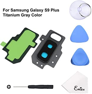 EMiEN Rear Back Camera Glass Lens Cover + Rear Camera Bezel Frame with Adhesive Replacement Parts for Samsung Galaxy S9+ Plus G965 with Repair Tool Kit (Titanium Gray)