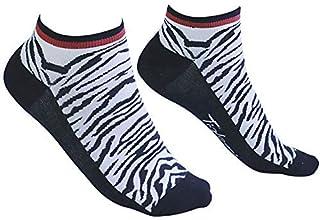 ícono de Tobillo - Calcetines blancos y negros con estampado de tigre blanco - Calcetines al tobillo de algodón de bambú, calcetined de hombre y de mujere - Dos tallas disponibles