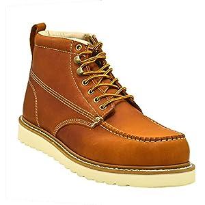 Golden Fox Men's Premium Leather Soft Toe Light Weight Industrial Construction Moc Work Boots Insulated 11 D(M) Brun