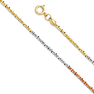 14K Yellow or White Or Rose Gold .90mm Shiny Classic Ropa Rope Chain Necklace for Pendants and Charms with Spring-Ring Clasp 16 18 or 20 inch