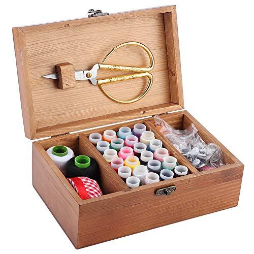 Cesta de Costura, Caja de Costura de Madera para el hogar Vintage, Organizador de Caja de Almacenamiento de Hilo de Aguja de Pino Herramienta de Costura(Dandelion Set Box)