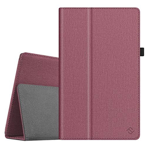 Fintie Folio Case for All-New Amazon Fire HD 10 Tablet (Compatible with 7th and 9th Generations, 2017 and 2019 Releases) - Premium PU Leather Slim Fit Stand Cover with Auto Wake/Sleep, Plum