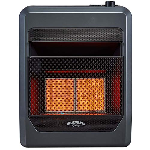 Bluegrass Living B20TNIR-BB Natural Vent Free Infrared Gas Space Heater with Blower and Base Feet-20,000, T-Stat Control, 20,000 BTU, Black