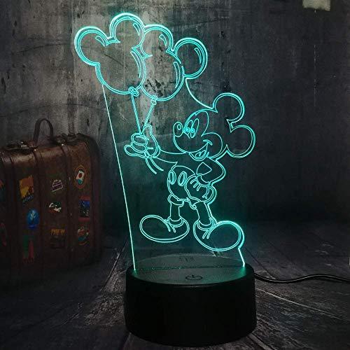 Mooie Mickey-muis, het ballon-karikatuur-3D-nachtlampje bureaulamp houdt kinderlijk verjaardagskerstcadeau-hoofdeindecoratie.