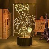 GEZHF 3D noche luz ilusión LED lámparas COR lámpara para niños anime ataque a Titan lámpara 3D Jean Kirstein para la CORATION regalo ATTELUDED noche luz Jean KIRSTEIN-16 colores