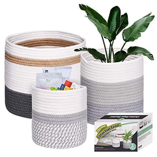 Set of 3 Woven Cotton Rope Plant Baskets Foldable Flower Planter Storage Basket Organizer Modern Home Decor (7/9/11 inches)