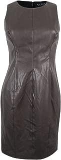 Lauren Petite Grey Sleeveless Faux-Leather Sheath Dress P