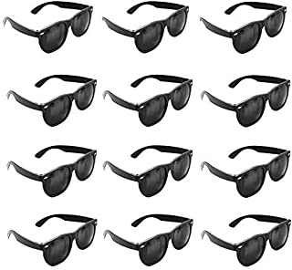 Super Z Outlet Plastic Black Vintage Retro Style Sunglasses Shades Eyewear for Party Prop Favors, Decorations, Toy Gifts (12 Pairs)